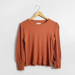 MADEWELL Orange Ribbed Long Sleeve Top